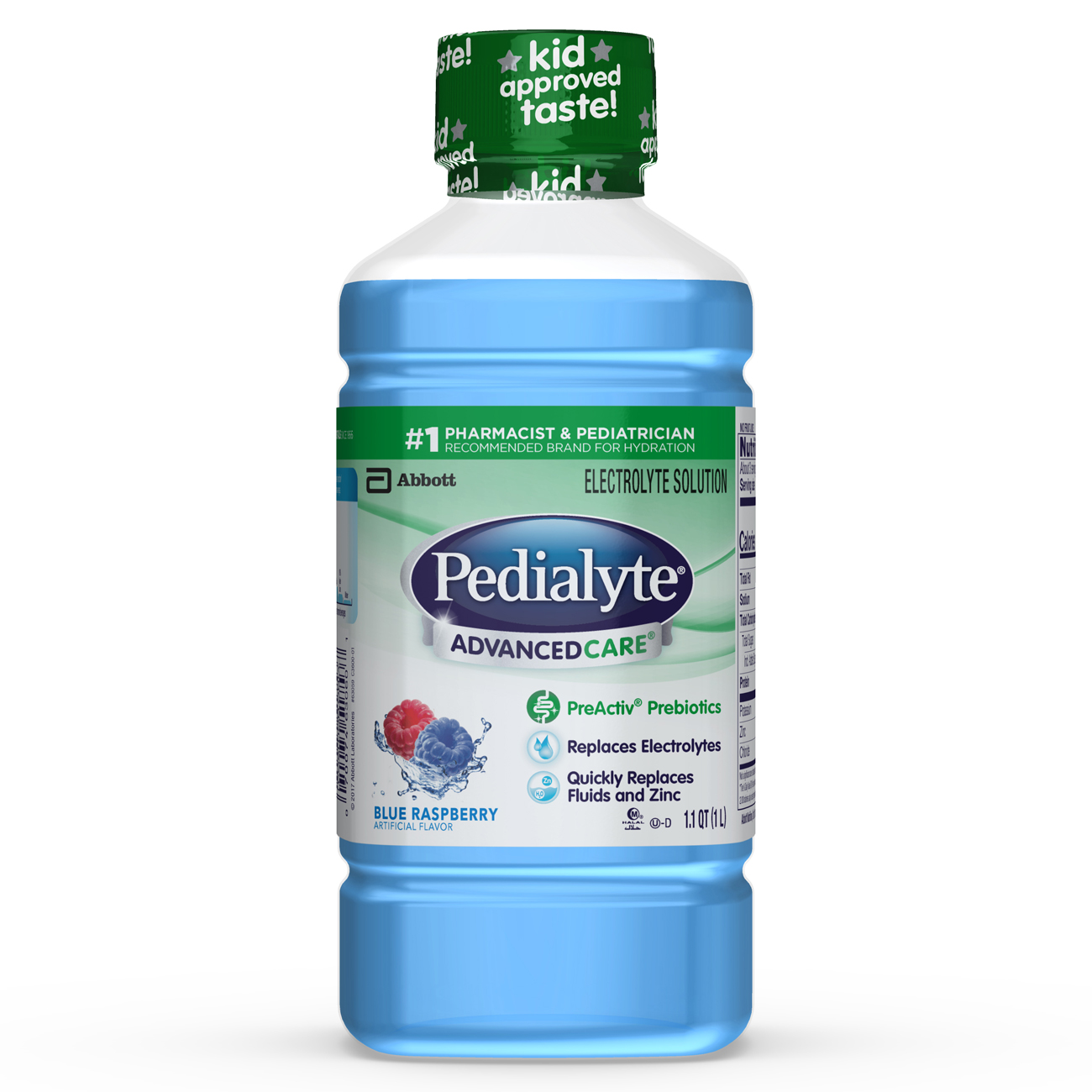 Pedialyte AdvancedCare Electrolyte Solution with PreActiv Prebiotics, Hydration Drink, Blue Raspberry, 1 Liter, 8 Count