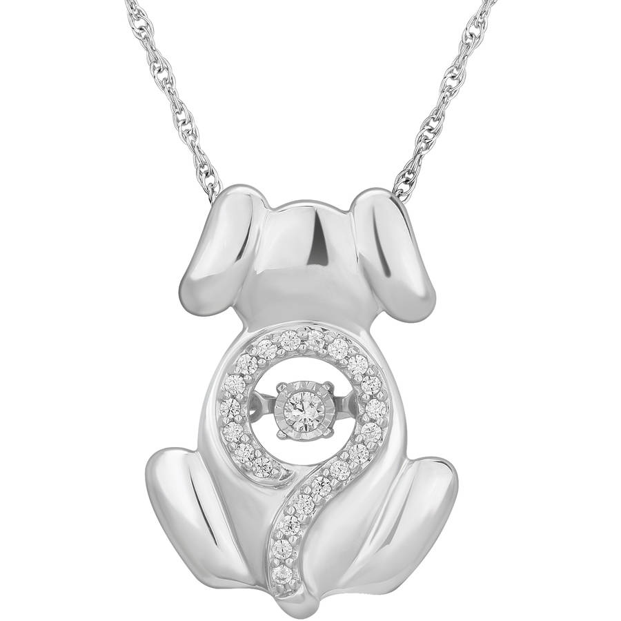 Carina 1/10 Carat T.W. Diamond Sterling Silver Twinkling Doggy Pendant, 18""