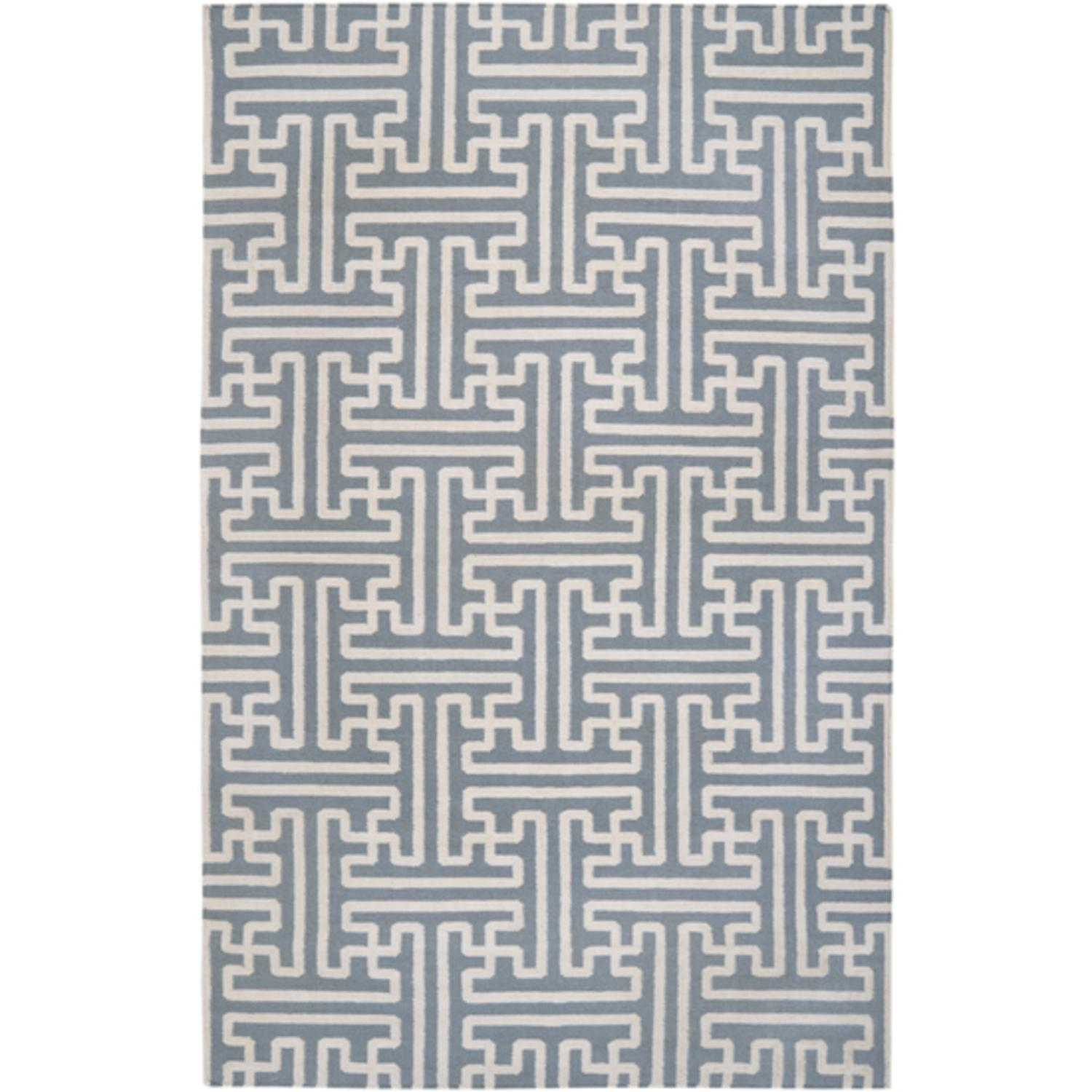5' x 8' Block Pillars Winter White and Slate Gray Wool Area Throw Rug
