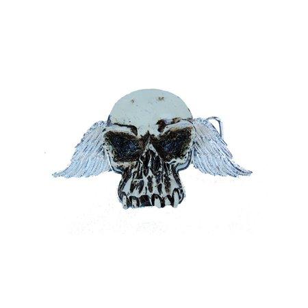 Wood Skull Belt Buckle - Rest In Peace Skull Winged Design Steel Belt Buckle