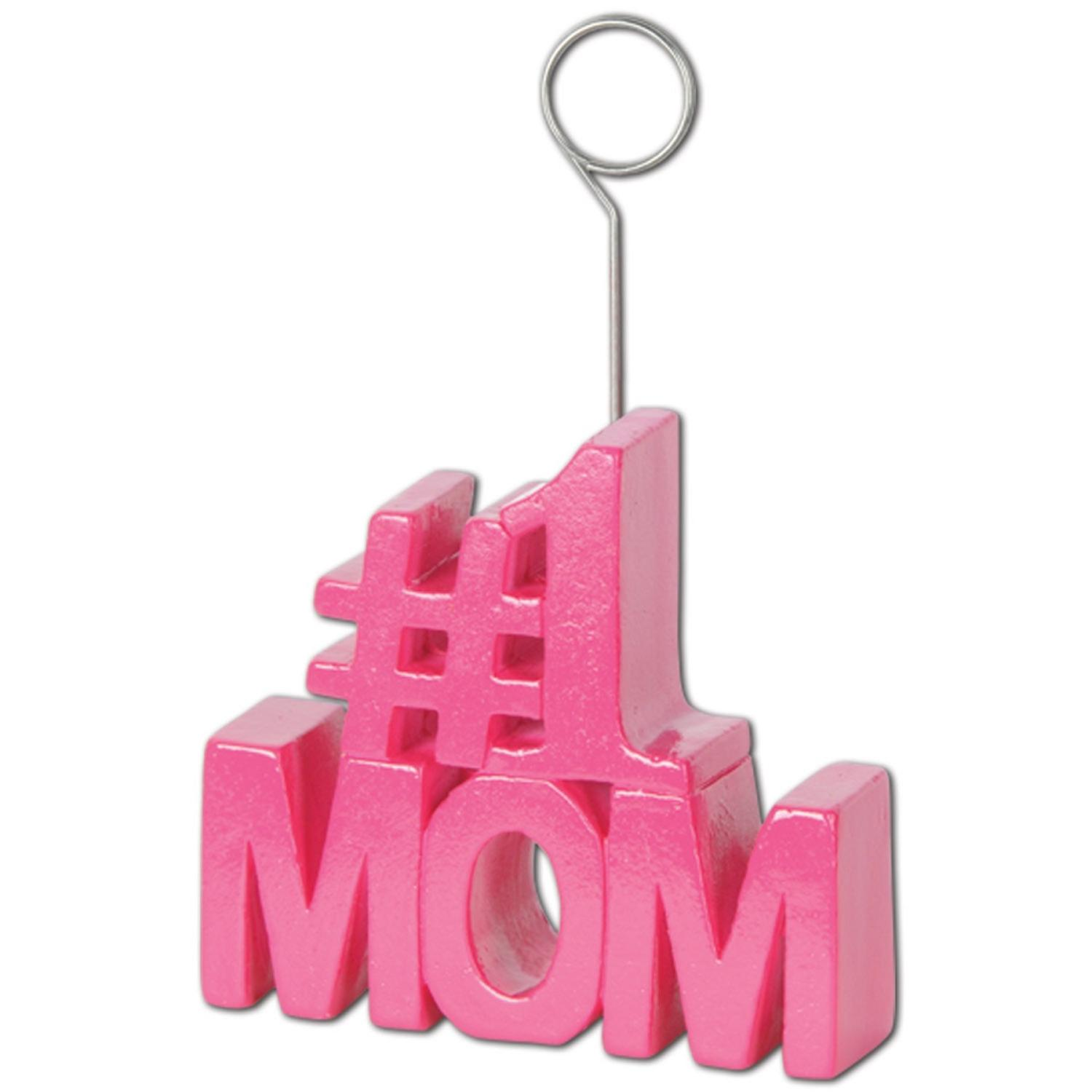 Pack of 6 Pink #1 Mom Photo or Balloon Holder Party Decorations 6oz