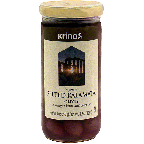 Krinos Pitted Kalamata Olives In Vinegar Brine And Olive Oil, 8 oz (Pack of 6)