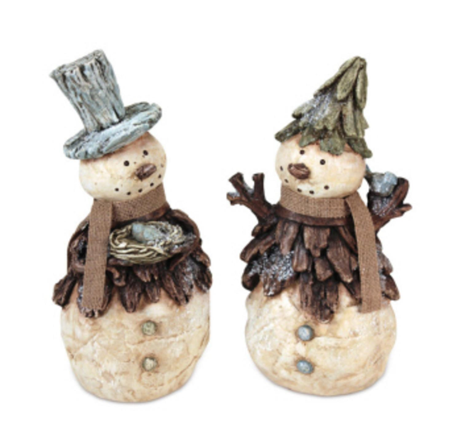 Pack of 4 Natural Fiber Folk Art Snowman Table Top Tree Christmas Figurines 13""