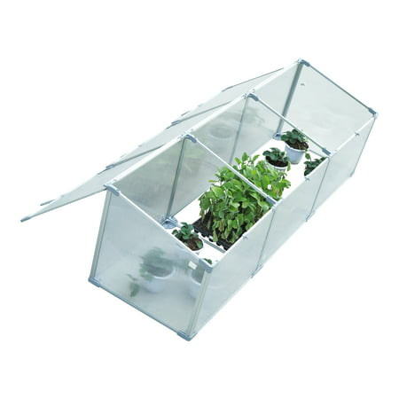 """Outsunny 71"""" Aluminum Vented Cold Frame Greenhouse - Silver/Transparent ()"""