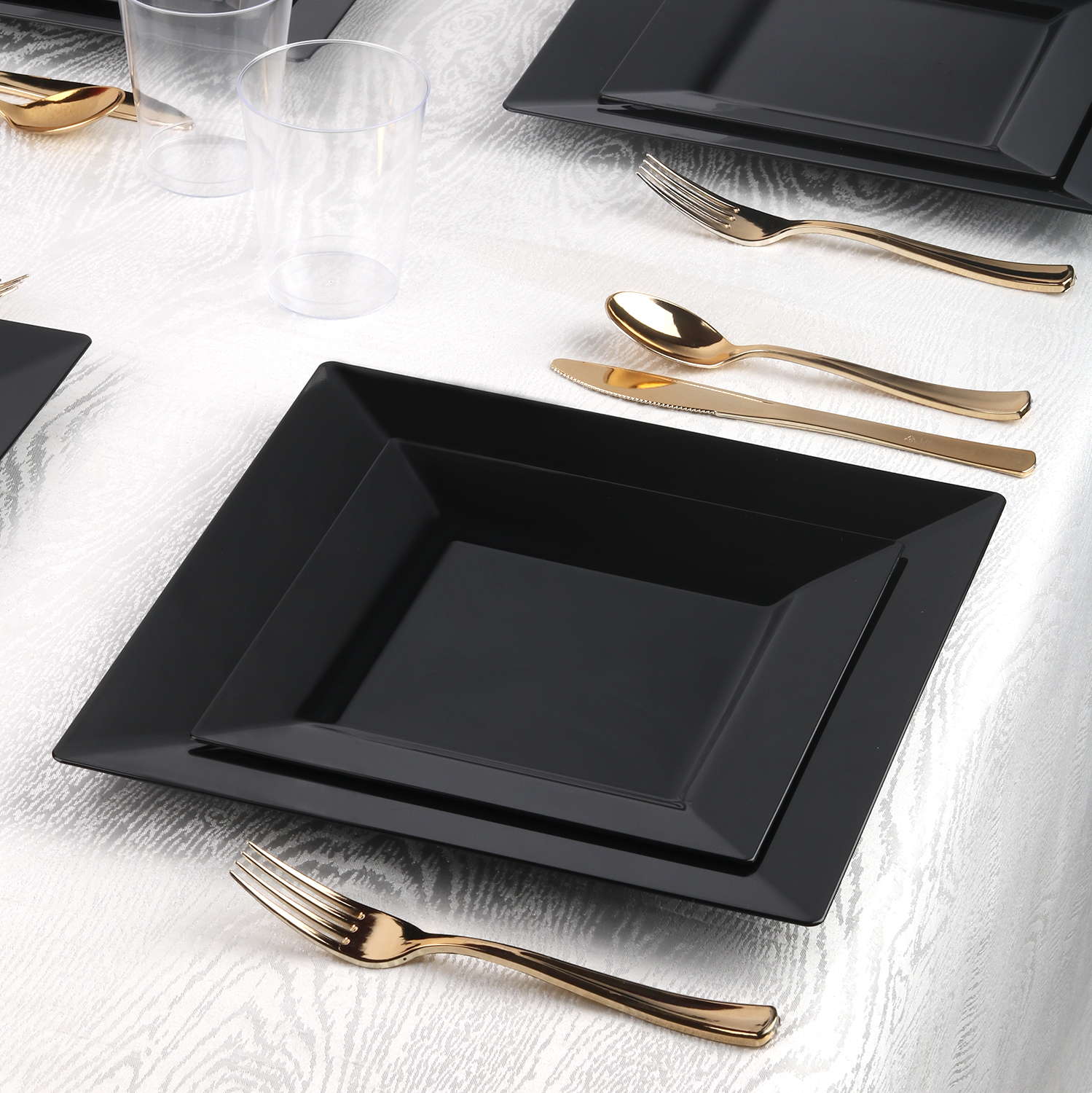 Kaya Collection - Square Black Disposable Plastic Dinnerware Party Package - 20 Person Package - Includes Dinner Plates, Salad/Dessert Plates, Gold Cutlery and Tumblers