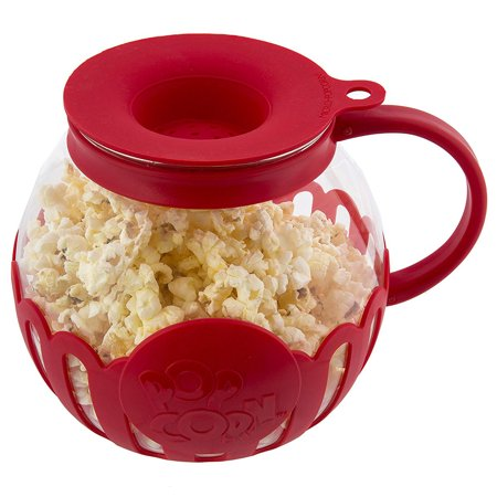 Ecolution Micro-Pop Microwave Popcorn Popper 1.5 Quarts, Snack Size, Red