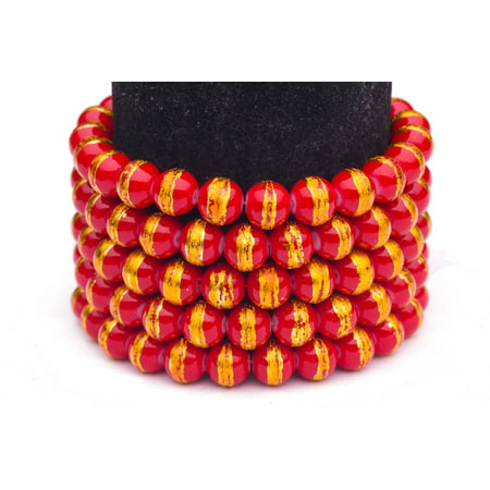 Red And Yellow Gold Foiled Glass Pearls 4mm Round Sold per pkg of