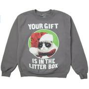 Grumpy Cat Your Gift is in the Litterbox Fleece Sweatshirt Adult