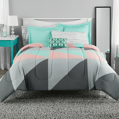 Mainstays Gray And Teal Bed In A Bag King Comforter Set