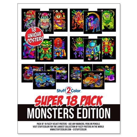 Super Pack of 18 Fuzzy Velvet 8x10 Inch Posters (Monsters Edition)](Monster Craft)