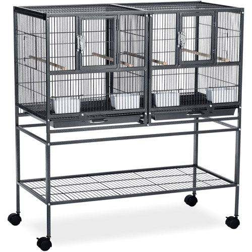 Prevue Pet Products Hampton Deluxe Divided Breeder Cage with Stand, Black Hammertone
