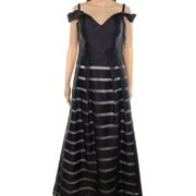Xscape Womens Off The Shoulder Illusion Stripe Gown