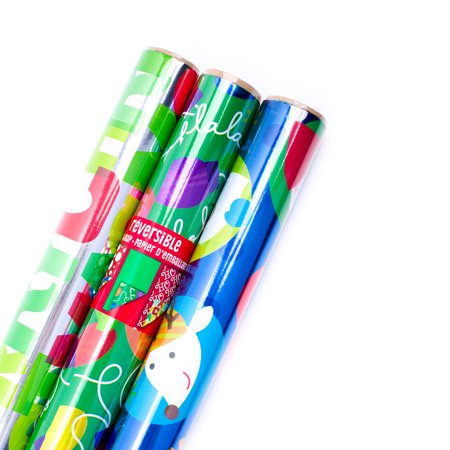 hallmark reversible christmas wrapping paper bundle foil kids pack of 3 60 sq - Walmart Christmas Wrapping Paper