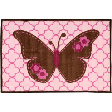 Bacati Pink/Chocolate Butterfly Rug Pack](Butterfly Rug)