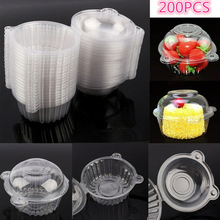 Mini Cake Boxes (200Pcs Plastic Cupcake Case Muffin Pods Dome Cups Cake)