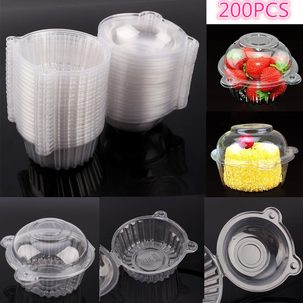 200Pcs Plastic Cupcake Case Muffin Pods Dome Cups Cake Boxes