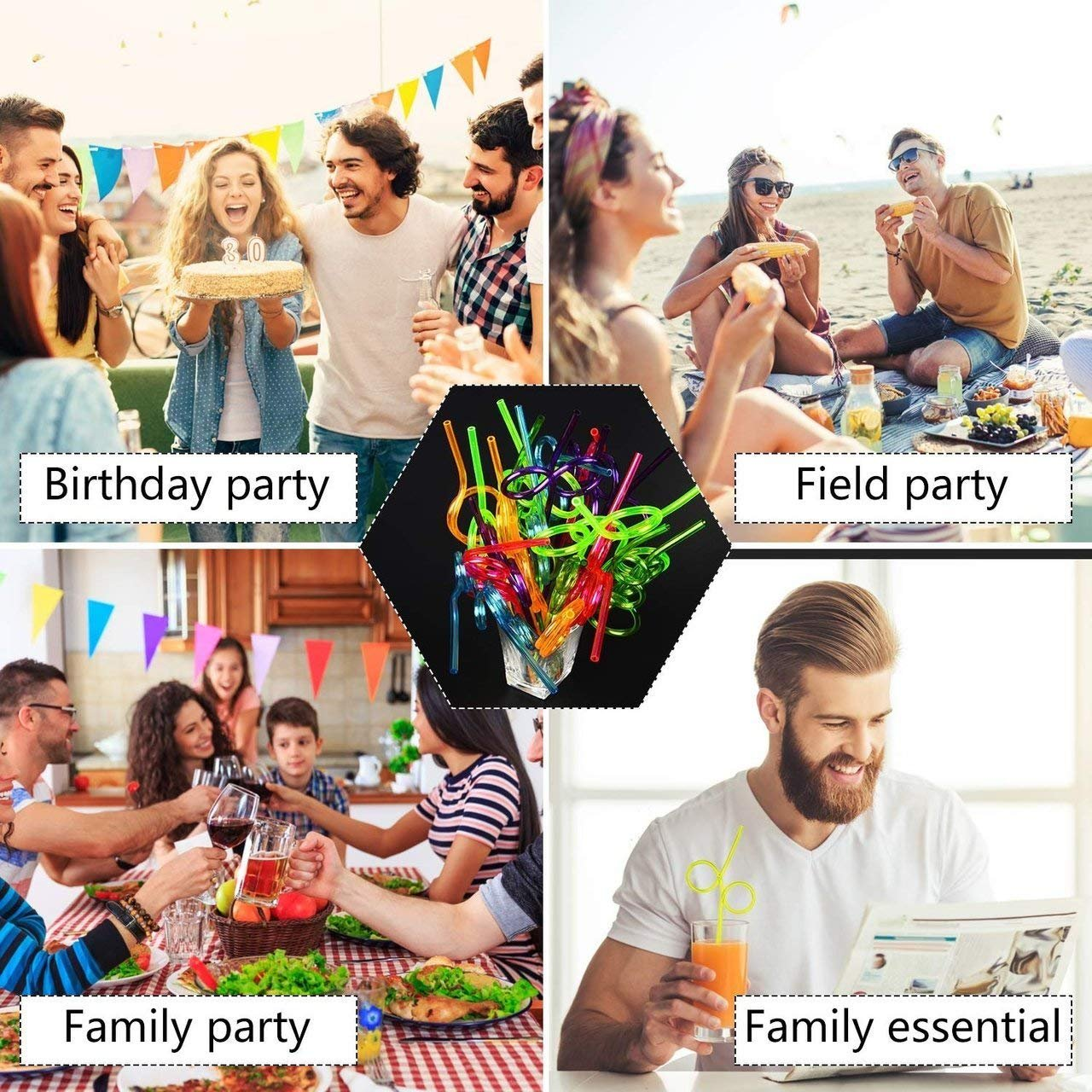 Birthday Party Favor Supplies Bulk Pack 10.5 Assorted Color and Shapes Totem World 36 Crazy Loop Straws