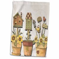 3dRose Birdhouses and flower pots with yellow daisies and garden tools - Towel, 15 by 22-inch