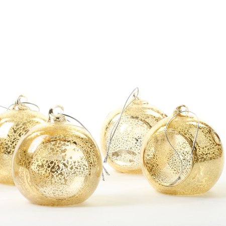 Koyal Wholesale Antique Gold Hanging Glass Candle Holders, 6-Pack Terrarium Planter for Succulents, Air - Glass Planter