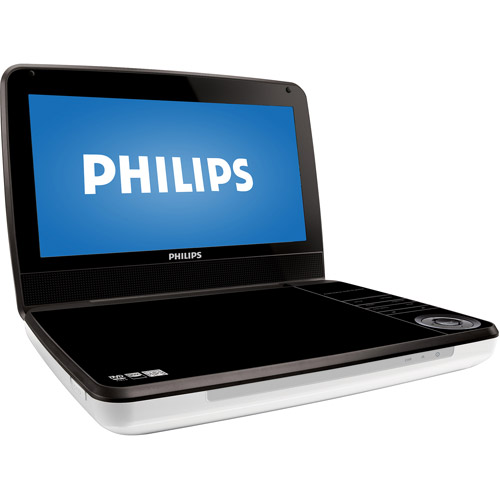 "Philips  RBPD9000/37 9"" Portable DVD Player, Black/White, Refurbished"
