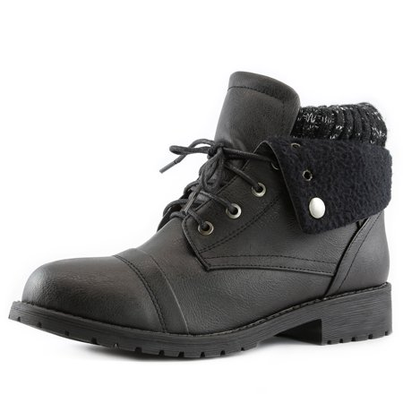 Women's DailyShoes 's Combat Style Lace Up Sweater Top Ankle Bootie With Pocket For Credit Card Knife Money Wallet Pocket Boots