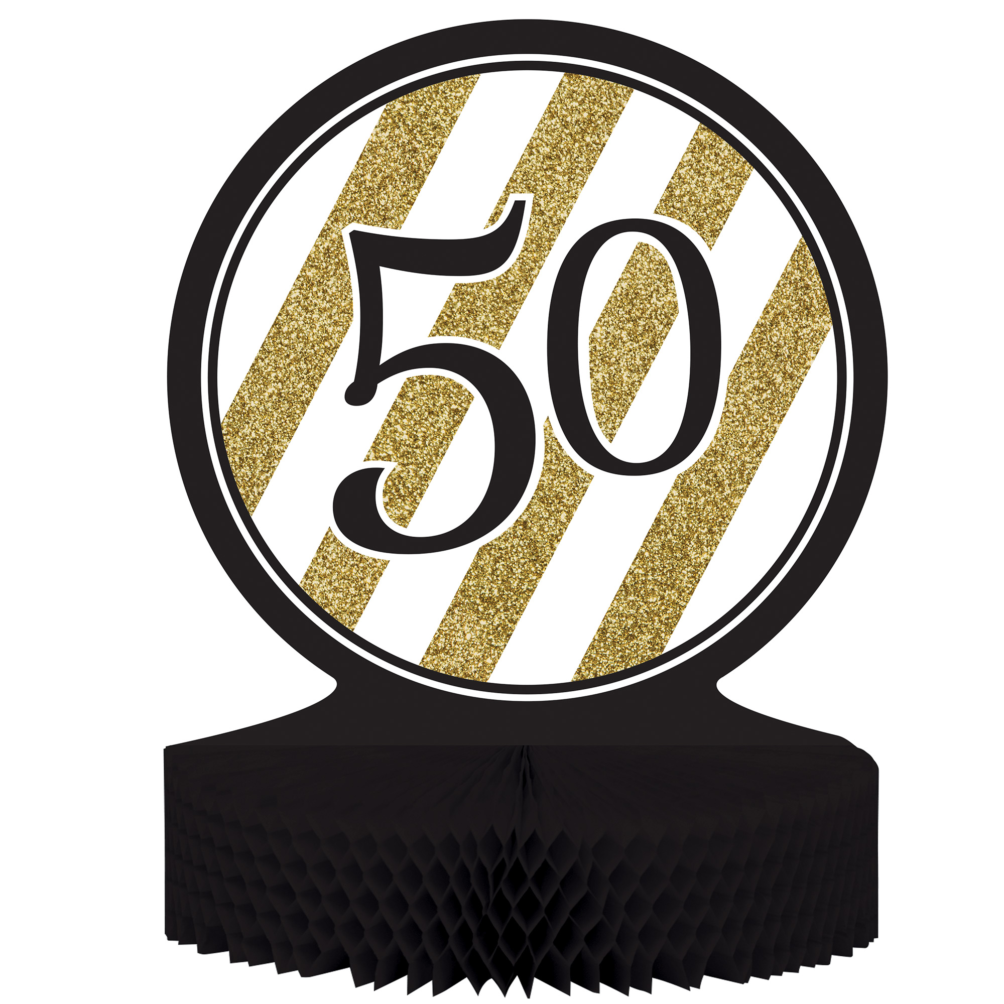 "Black & Gold 50th Birthday Honeycomb Centerpiece 12"" x 9"", Case of 6"