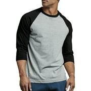 Men's 3/4 Sleeve Baseball T-Shirt Jersey Raglan Two-Tone Active Tee
