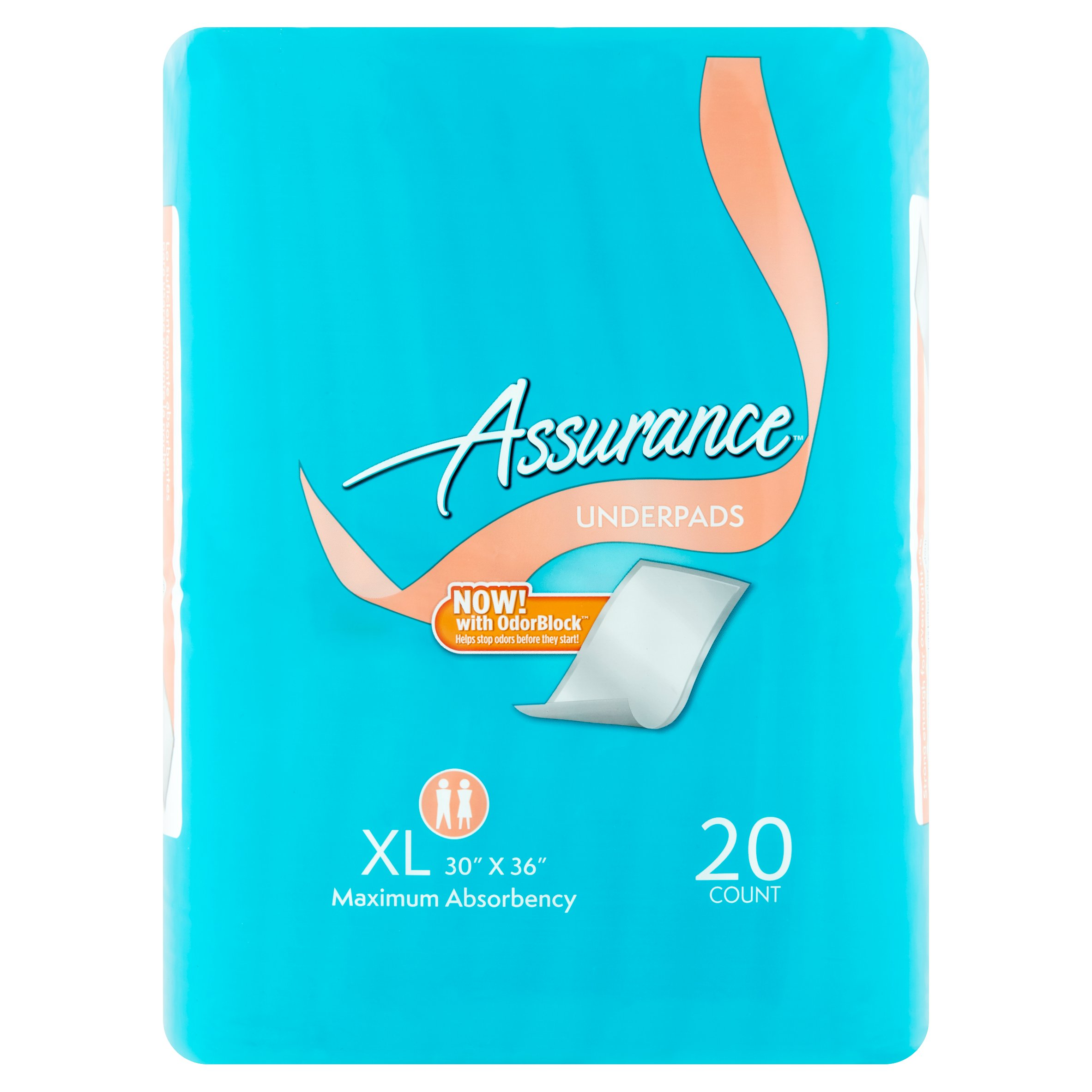 Assurance Incontinence Pads Unisex, Maximum, XL, 20 Ct