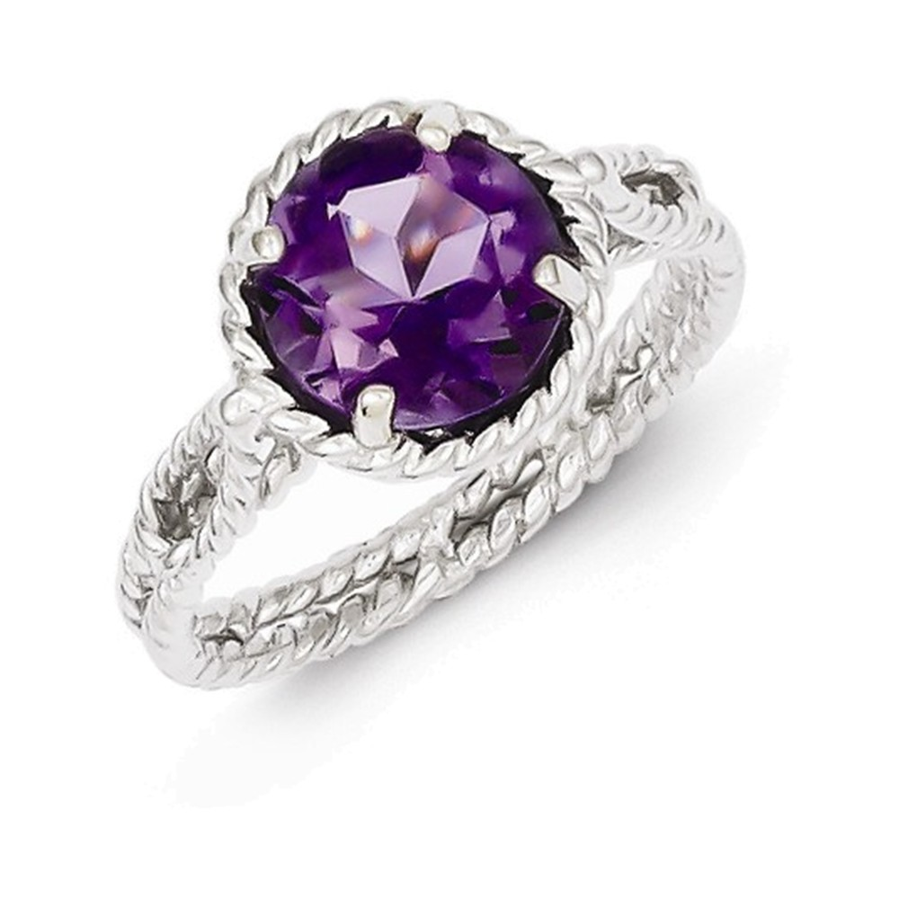 Sterling Silver Amethyst Twisted Circle Ring Size 7