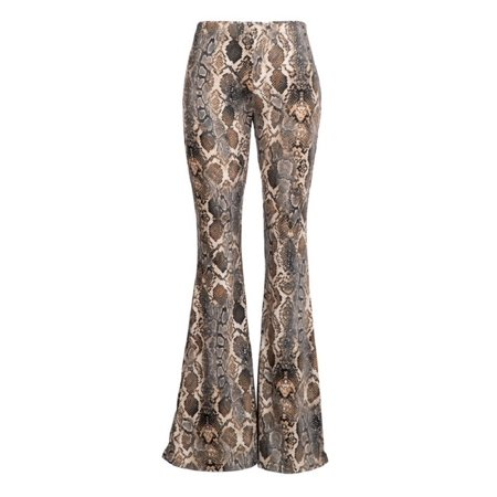 2Chique Boutique Women's Snake Print Brushed Knit Bell Bottom Pant, Stone