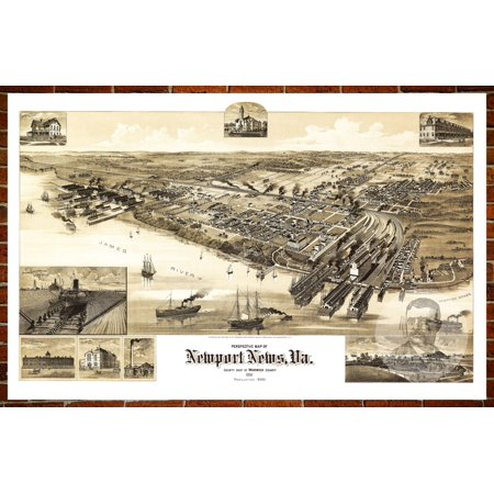 Ted's Vintage Art Map of Newport News, VA 1891; Old Virginia Decor 8