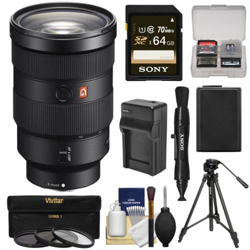 Sony Alpha E-Mount FE 24-70mm f/2.8 GM Zoom Lens with 64GB Card + Battery & Charger + Tripod + 3 Filters + Kit