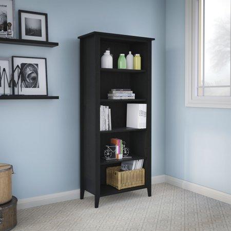 Kathy Ireland ® Office Connecticut 5-Shelf Bookcase in Black Suede Oak