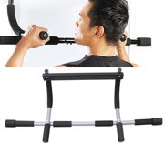 Upper Body Workout Bar Multi-Grip Lite Chin-Up Pull-Up Bar Heavy Duty Doorway Trainer for Home and Gym (Black)