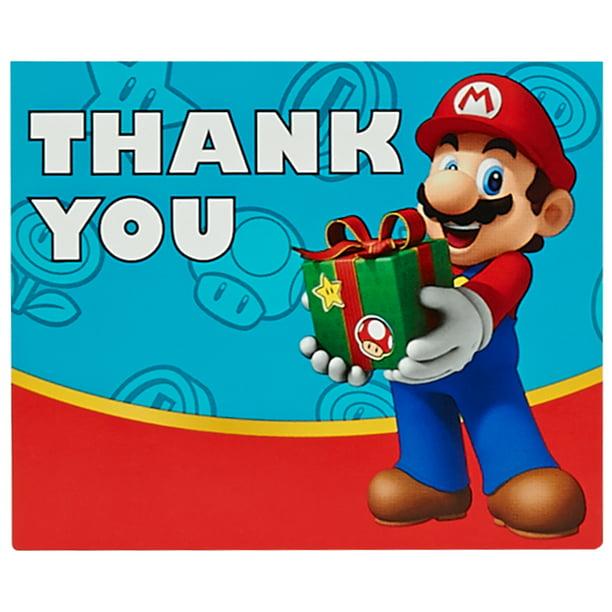 Super Mario Party Supplies 16 Pack Thank You Notes Walmart Com