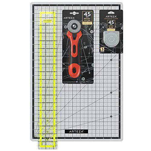 """Arteza Rotary Cutter Quilting Kit, Set of 4 (2.5X18"""" Ruler, 12X18"""" Mat, 45mm Cutter, 45mm Blades 3 pack )"""