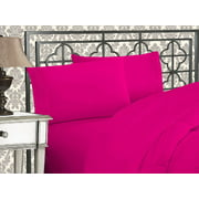 Elegant Comfort  Silky-Soft 1800 Series  - Wrinkle-Free 4-Piece Bed Sheet Set, Deep Pocket up to 16 inch, Queen Pink