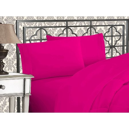 Elegant Comfort®  Silky-Soft 1800 Series  - Wrinkle-Free 4-Piece Bed Sheet Set, Deep Pocket up to 16 inch, Queen Pink