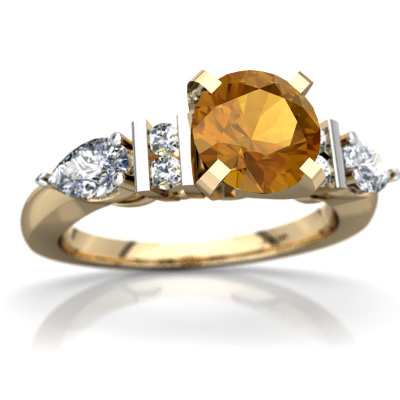 Citrine Engagment Ring in 14K Yellow Gold by