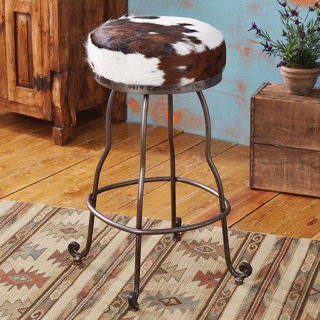 Vaquero Cowhide Rustic Barstool Western Furniture