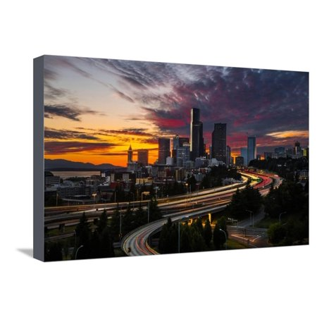 Washington, Seattle. Sunset View of Downtown over I-5 from the Jose Rizal Bridge Stretched Canvas Print Wall Art By Gary (Distance From San Jose To Seattle Washington)