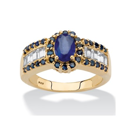 Oval-Cut Genuine Blue Sapphire and White Topaz Accents Halo Ring 15.68 TCW in 14k Gold over Sterling (Genuine Blue Sapphire Stone)