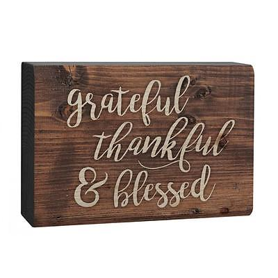 GRATEFUL THANKFUL & BLESSED Distressed Wood Tabletop Block Plaque, 5