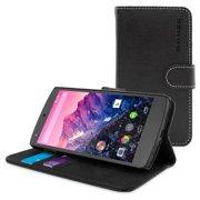 Snugg B00PY02C3E Nexus 5 Flip Case Cover, Black Leather