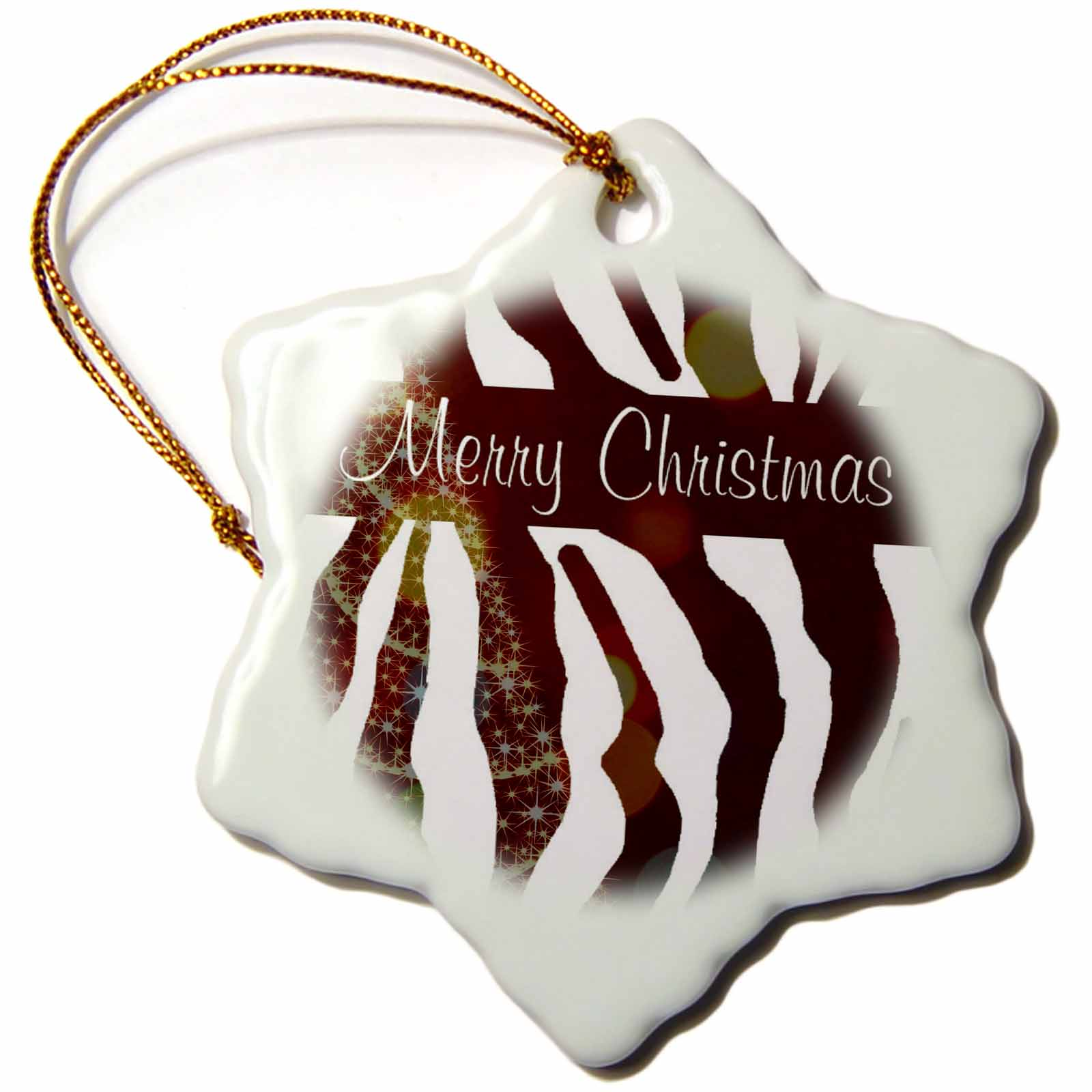 3dRose Zebra Print Merry Christmas with Tree, Snowflake Ornament, Porcelain, 3-inch