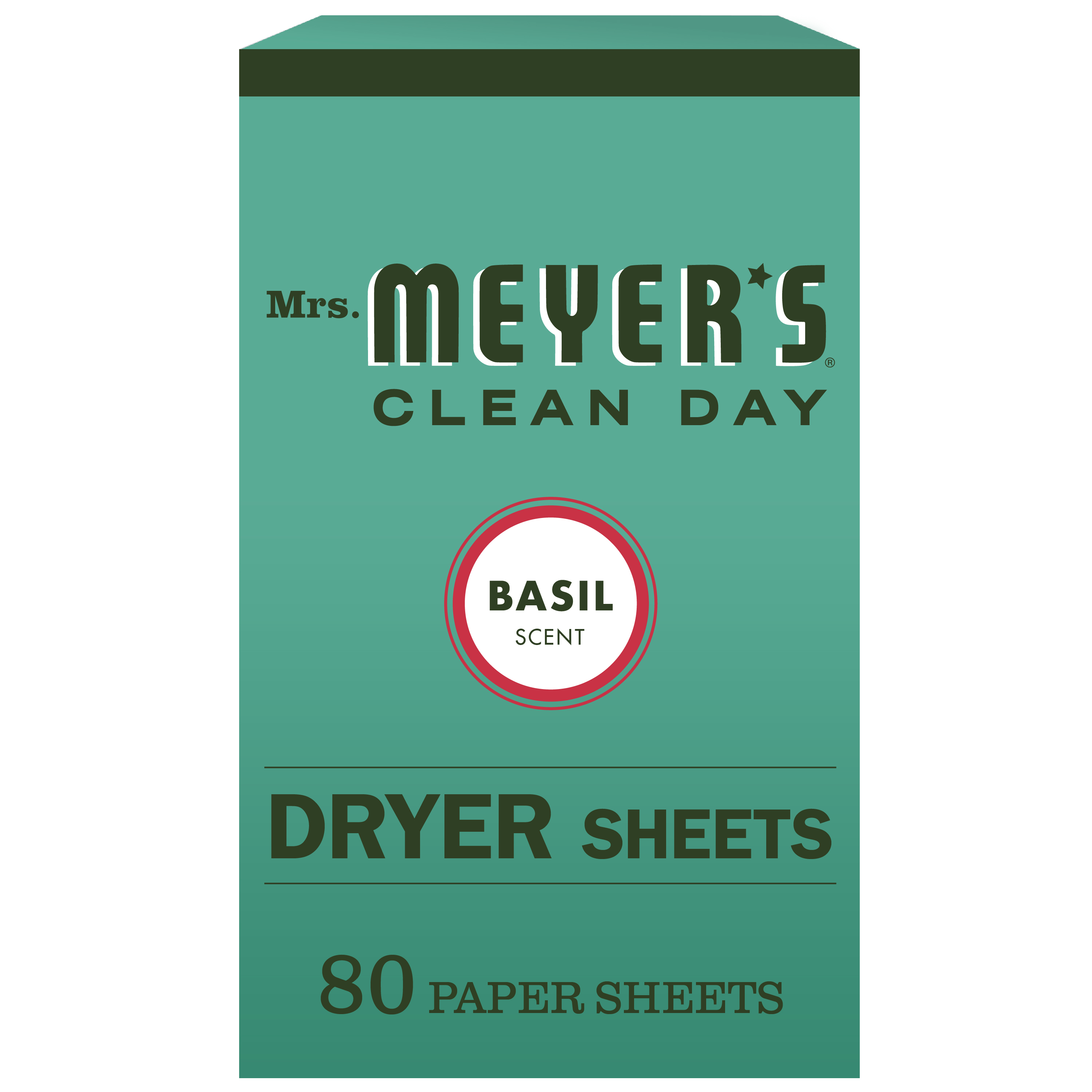 Mrs. Meyer's Clean Day Dryer Sheets, Basil Scent, 80 count