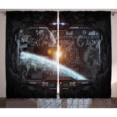 Outer Space Decor Curtains 2 Panels Set, Control Panel of Cockpit Screen in Spaceflight Androids World Stardust, Window Drapes for Living Room Bedroom, 108W X 84L Inches, Orange Gray, by Ambesonne - Outer Space Decor