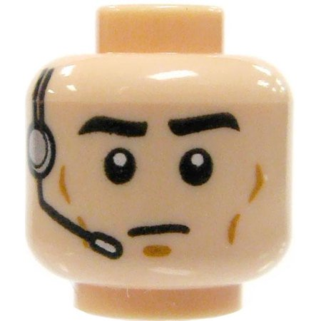 Dixie Closed Head - LEGO Minifigure Parts Light Flesh with Headset & Closed Mouth Head