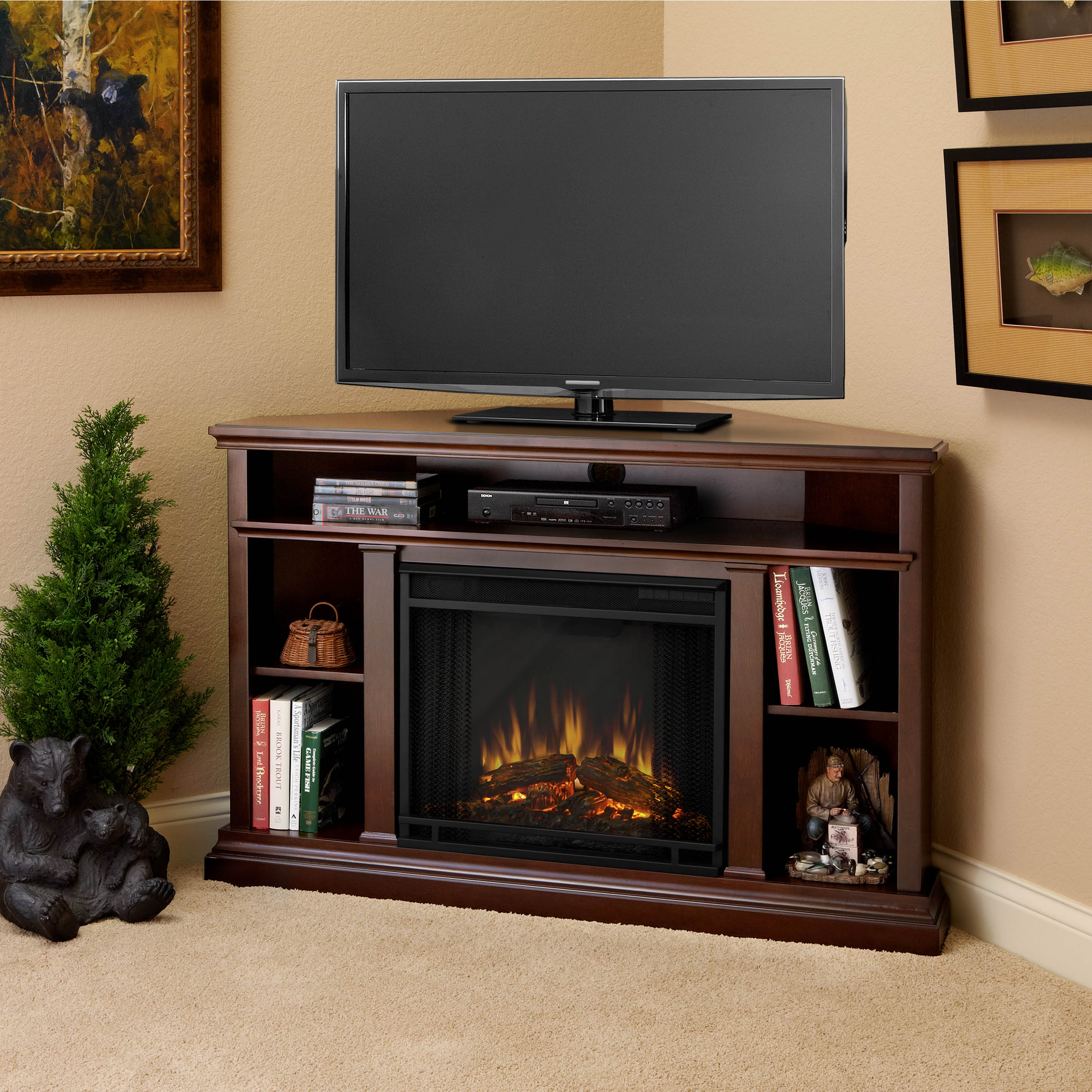 Churchill Electric Fireplace in Dark Espresso by Real Flame
