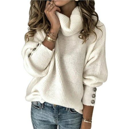 Gupgi Women Turtleneck Solid Sweater Chunky Knitted Pullover Casual Knitwear